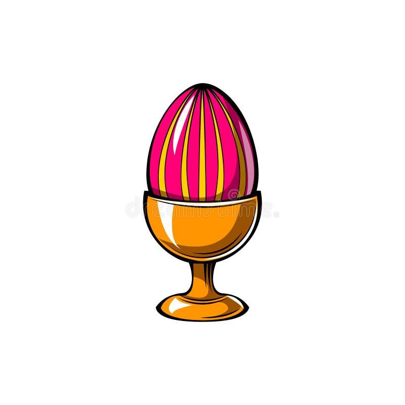Κομψή διακόσμηση αυγών Πάσχας πάνω από τη στάση αυγών διάνυσμα ελεύθερη απεικόνιση δικαιώματος