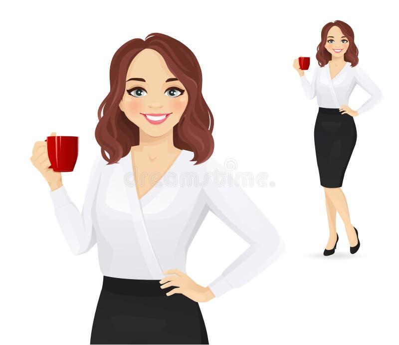 Κομψή επιχειρησιακή γυναίκα με το φλυτζάνι καφέ διανυσματική απεικόνιση
