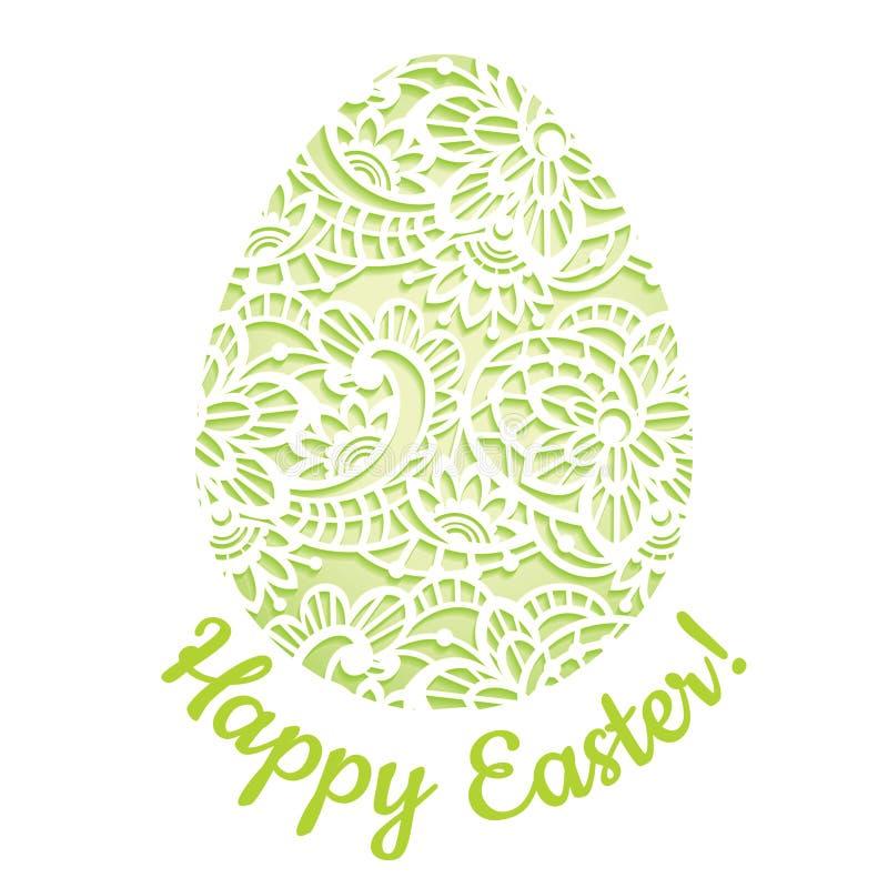 Κομψή ευχετήρια κάρτα με το δαντελλωτός αυγό Πάσχας απεικόνιση αποθεμάτων