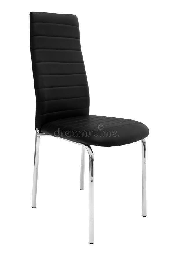 Κομψή καρέκλα κουζινών Σύγχρονη μαύρη καρέκλα δέρματος για να δειπνήσει και την κουζίνα, με τα πόδια χρωμίου αλουμινίου η ανασκόπ στοκ εικόνες με δικαίωμα ελεύθερης χρήσης