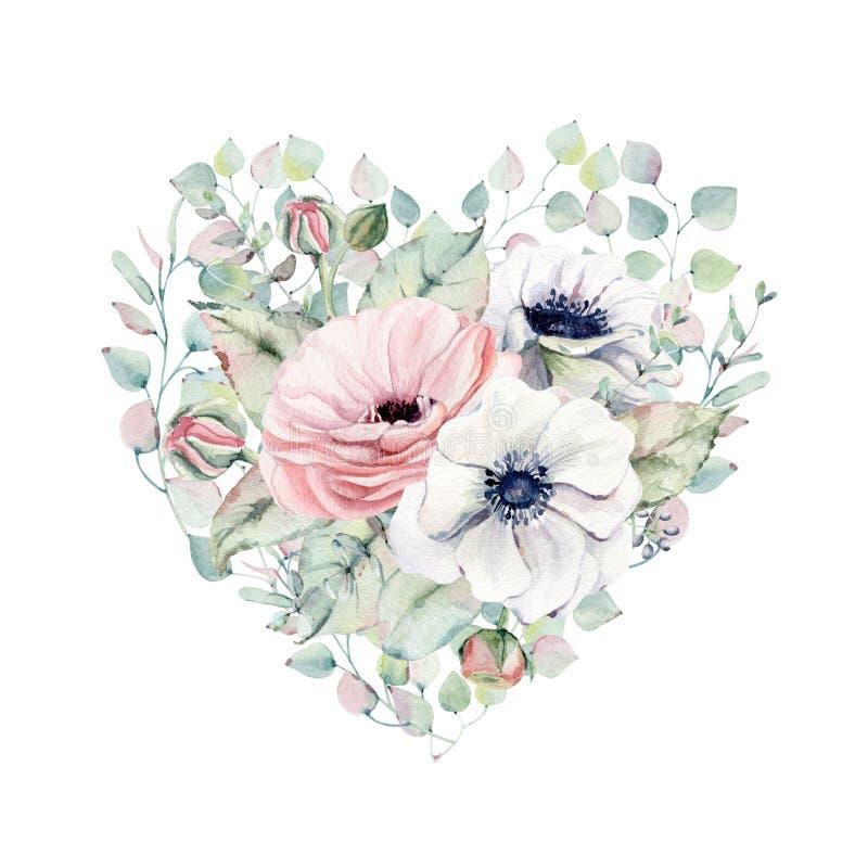 Κομψή καρδιά ημέρας βαλεντίνων των λουλουδιών watercolor ελεύθερη απεικόνιση δικαιώματος