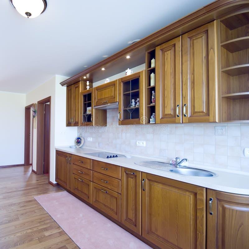 κομψή κουζίνα ξύλινη στοκ εικόνες με δικαίωμα ελεύθερης χρήσης