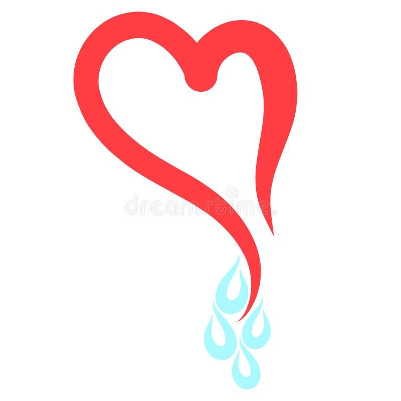 Κομψή κόκκινη καρδιά και τέσσερις πτώσεις του νερού ή των δακρυ'ων διανυσματική απεικόνιση