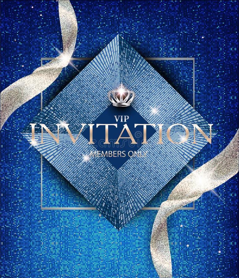 Κομψή μπλε κάρτα πρόσκλησης με τις λαμπιρίζοντας κορδέλλες και τα εκλεκτής ποιότητας στοιχεία σχεδίου απεικόνιση αποθεμάτων