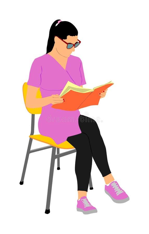 Κομψή νέα διανυσματική απεικόνιση βιβλίων ανάγνωσης γυναικών που απομονώνεται στο άσπρο υπόβαθρο Συνεδρίαση κοριτσιών στην καρέκλ διανυσματική απεικόνιση