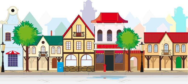 κομψή παλαιά μικρή πόλη οδών απεικόνιση αποθεμάτων