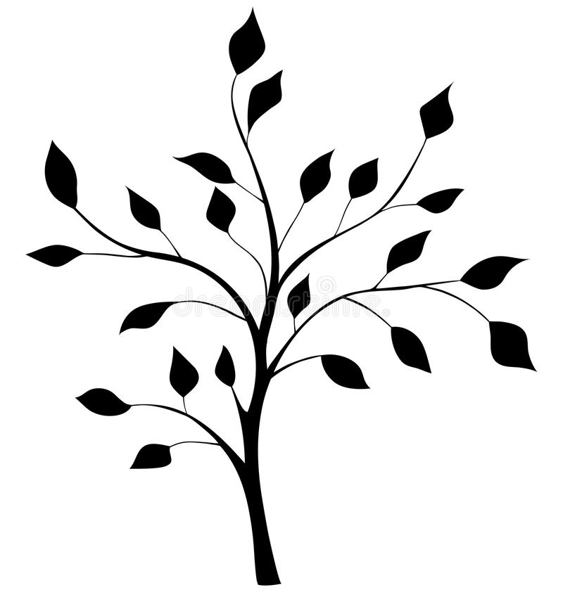 Κομψή σκιαγραφία ενός δέντρου ελεύθερη απεικόνιση δικαιώματος