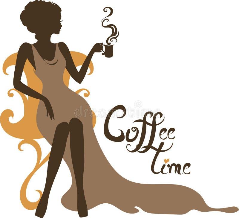 Κομψή σκιαγραφία της όμορφης γυναίκας με ένα φλιτζάνι του καφέ ελεύθερη απεικόνιση δικαιώματος