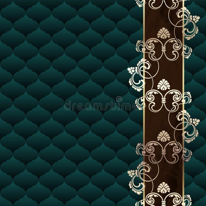 Κομψή σκούρο πράσινο στυλ ροκοκό ανασκόπηση με τη διακόσμηση διανυσματική απεικόνιση