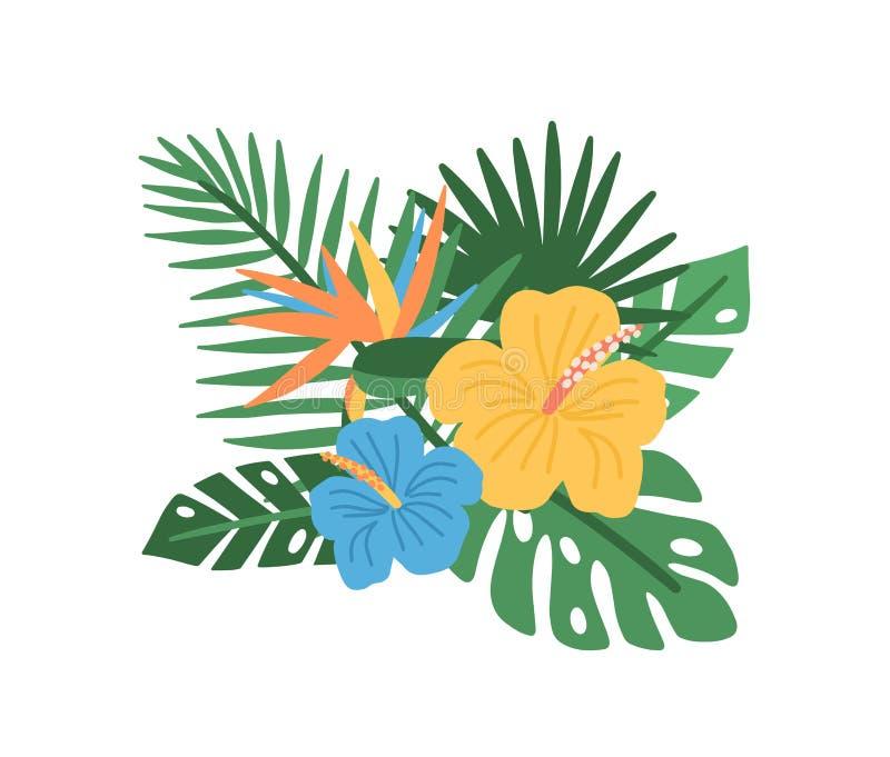 Κομψή φυσική σύνθεση με τα ανθίζοντας τροπικά λουλούδια και τα εξωτικά φύλλα φοινίκων που απομονώνονται στο άσπρο υπόβαθρο διανυσματική απεικόνιση