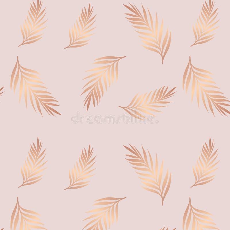 Κομψός άνευ ραφής αυξήθηκε χρυσό τροπικό εξωτικό σχέδιο φύλλων διανυσματική απεικόνιση
