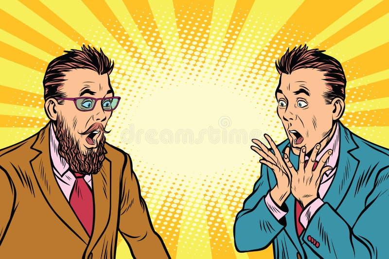 Κομψός αναδρομικός επιχειρηματίας δύο που συγκλονίζεται διανυσματική απεικόνιση