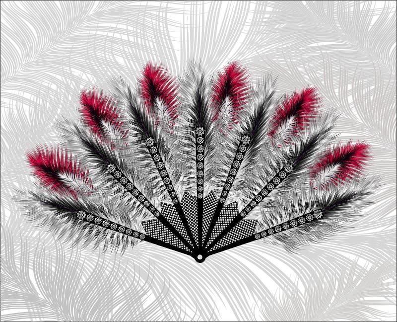 Κομψός ανεμιστήρας φιαγμένος από όμορφα φτερά ελεύθερη απεικόνιση δικαιώματος