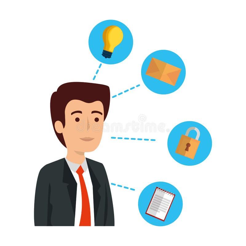 Κομψός επιχειρηματίας με τα καθορισμένα επιχειρησιακά εικονίδια ελεύθερη απεικόνιση δικαιώματος