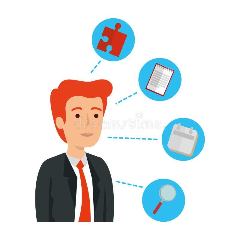 Κομψός επιχειρηματίας με τα καθορισμένα επιχειρησιακά εικονίδια διανυσματική απεικόνιση