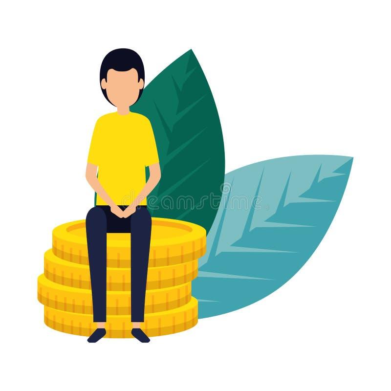 Κομψός επιχειρηματίας με τα νομίσματα και τις εγκαταστάσεις διανυσματική απεικόνιση