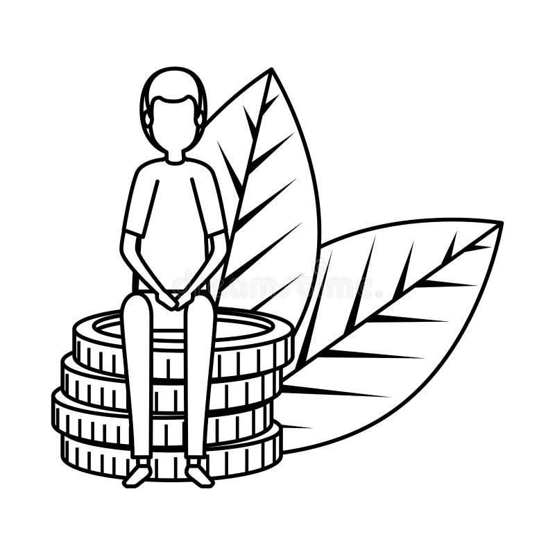 Κομψός επιχειρηματίας με τα νομίσματα και τις εγκαταστάσεις ελεύθερη απεικόνιση δικαιώματος