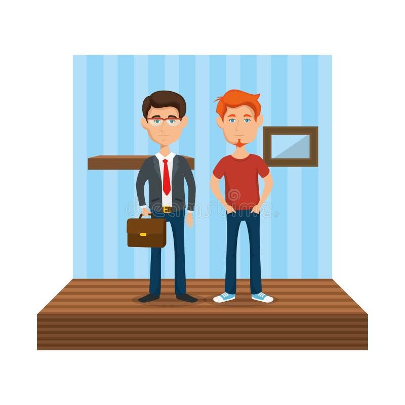 Κομψός επιχειρηματίας με το άτομο στο σπίτι ελεύθερη απεικόνιση δικαιώματος