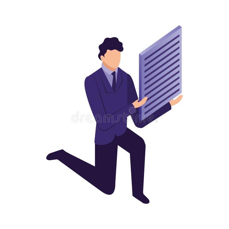 Κομψός επιχειρηματίας με το έγγραφο απεικόνιση αποθεμάτων