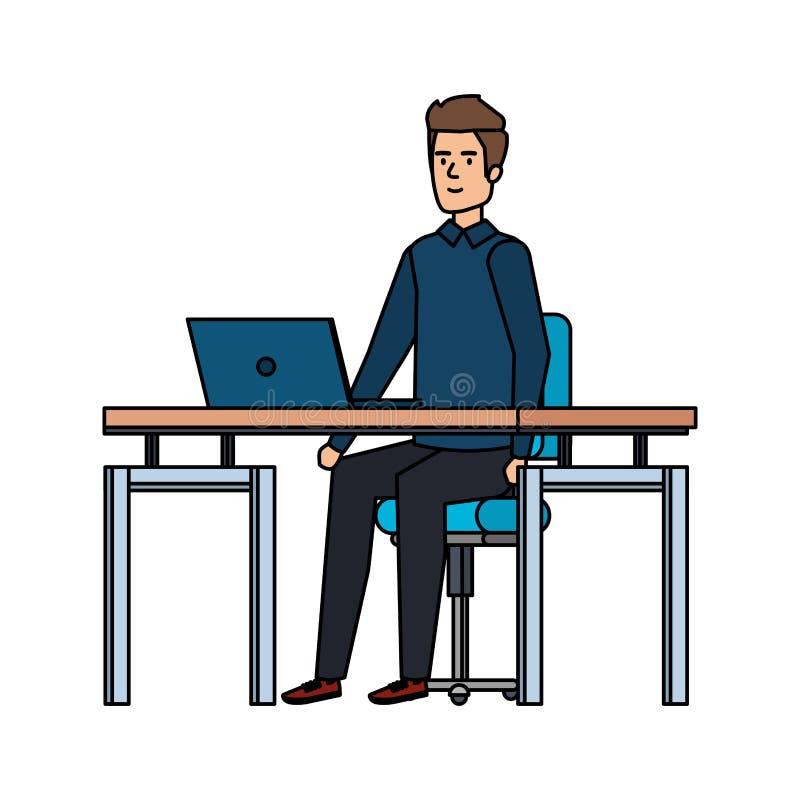Κομψός επιχειρηματίας στον εργασιακό χώρο διανυσματική απεικόνιση
