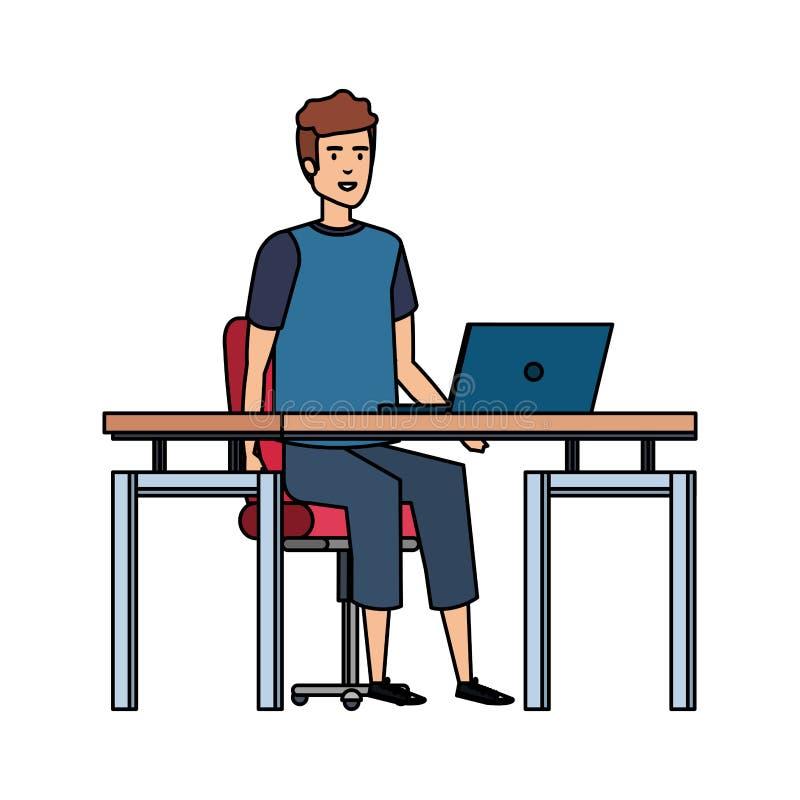 Κομψός επιχειρηματίας στον εργασιακό χώρο απεικόνιση αποθεμάτων
