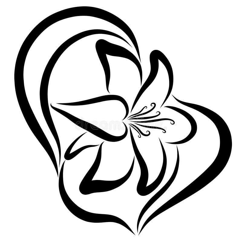 Κομψός κρίνος, μαύρο σχέδιο, χορεύοντας λουλούδι, περίγραμμα απεικόνιση αποθεμάτων