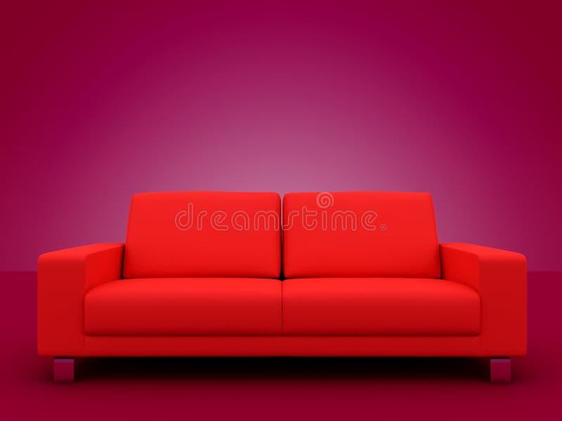 κομψός κόκκινος καναπές εδρών απεικόνιση αποθεμάτων