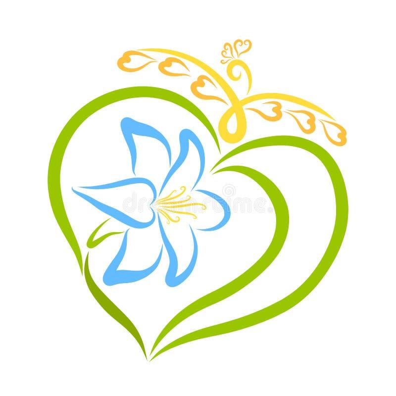 Κομψός μπλε κρίνος με τα φύλλα που δημιουργούν μια μορφή καρδιών και ένα flyin διανυσματική απεικόνιση