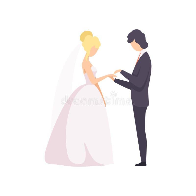 Κομψός νεόνυμφος που βάζει το δαχτυλίδι στο δάχτυλο νυφών στη διανυσματική απεικόνιση γαμήλιας τελετής σε ένα άσπρο υπόβαθρο διανυσματική απεικόνιση