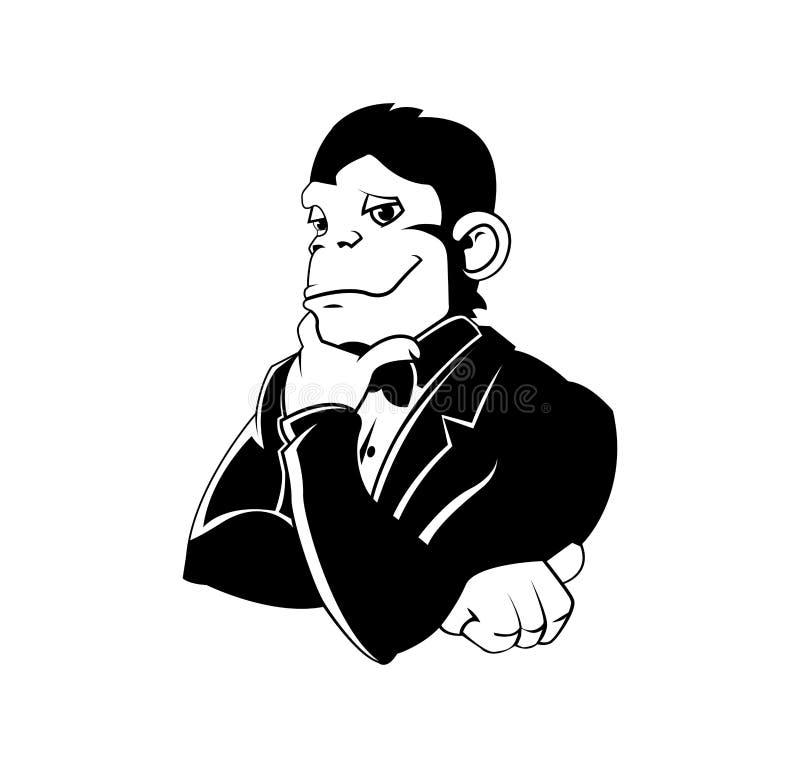 Κομψός πίθηκος σε ένα σμόκιν ελεύθερη απεικόνιση δικαιώματος