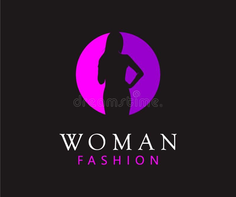 Κομψός της έννοιας σχεδίου λογότυπων σαλονιών γυναικών διανυσματική απεικόνιση