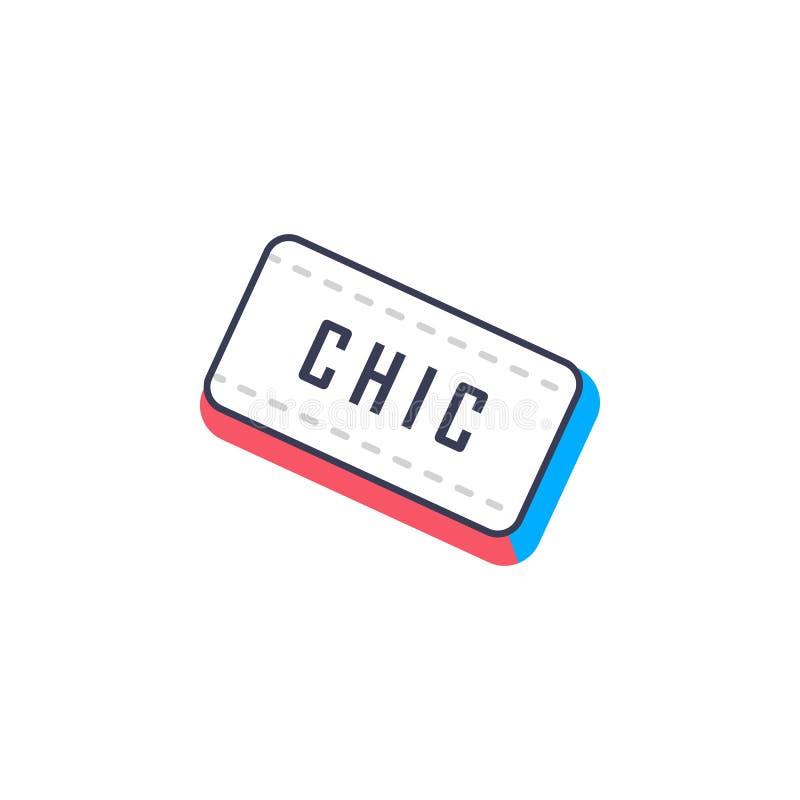Κομψός, chik εικονίδιο αυτοκόλλητων ετικεττών Στοιχείο του εικονιδίου αυτοκόλλητων ετικεττών φωτογραφιών για την κινητούς έννοια  απεικόνιση αποθεμάτων