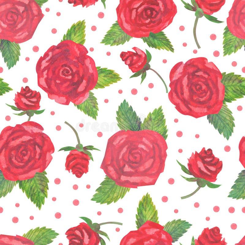 Κομψό άνευ ραφής σχέδιο τριαντάφυλλων watercolor κόκκινο διανυσματική απεικόνιση