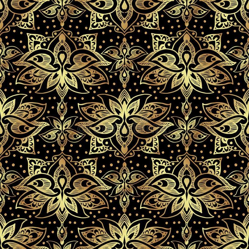 Κομψό άνευ ραφής σχέδιο με τους βασιλικούς κρίνους Χρυσά λουλούδια σε μια μαύρη ανασκόπηση ελεύθερη απεικόνιση δικαιώματος