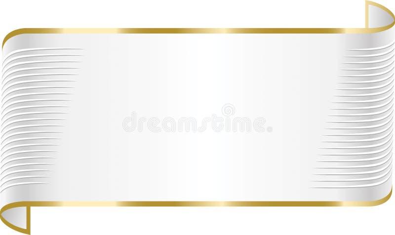 Κομψό άσπρο έμβλημα κορδελλών διανυσματική απεικόνιση