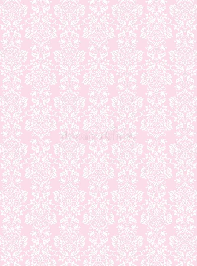 Κομψό άσπρο λουλουδιών υπόβαθρο ταπετσαριών σχεδίων κατασκευασμένο ρόδινο απεικόνιση αποθεμάτων