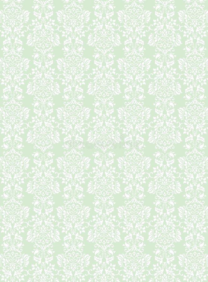 Κομψό άσπρο λουλουδιών υπόβαθρο ταπετσαριών σχεδίων κατασκευασμένο πράσινο διανυσματική απεικόνιση