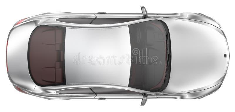 Κομψό αθλητικό coupe αυτοκίνητο - τοπ άποψη απεικόνιση αποθεμάτων