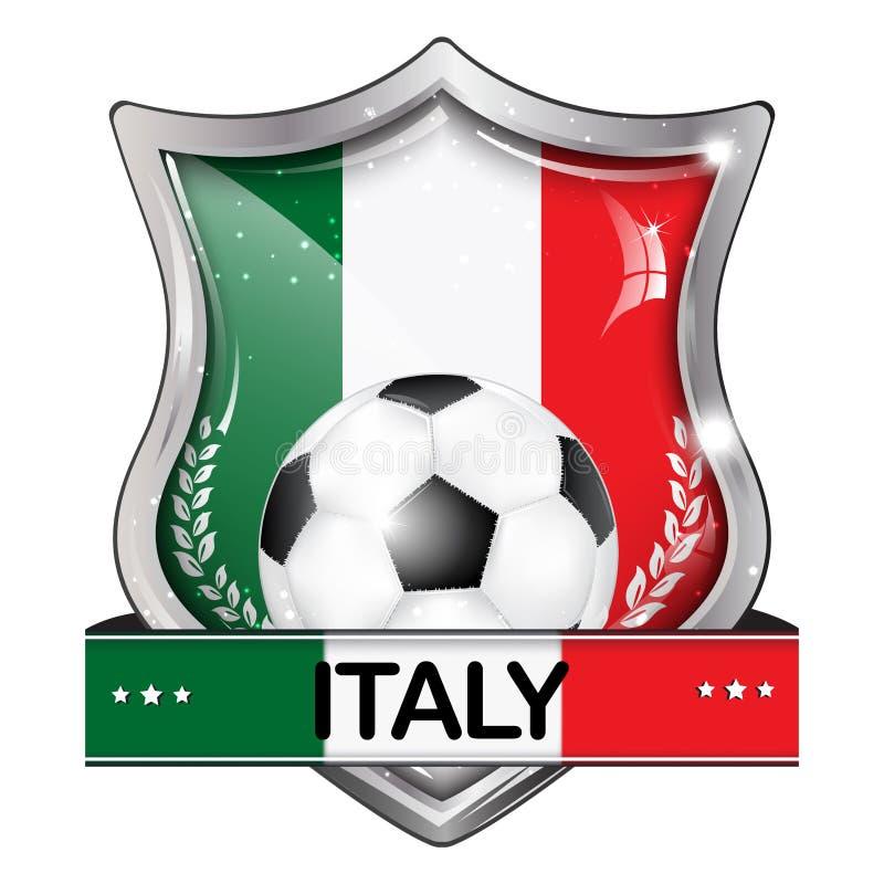 Κομψό λαμπρό εικονίδιο ποδοσφαίρου της Ιταλίας διανυσματική απεικόνιση