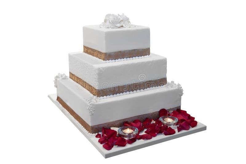 Κομψό γαμήλιο κέικ στοκ εικόνες