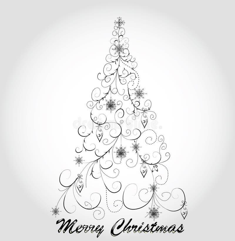 κομψό γραφικό δέντρο Χριστ&omi διανυσματική απεικόνιση