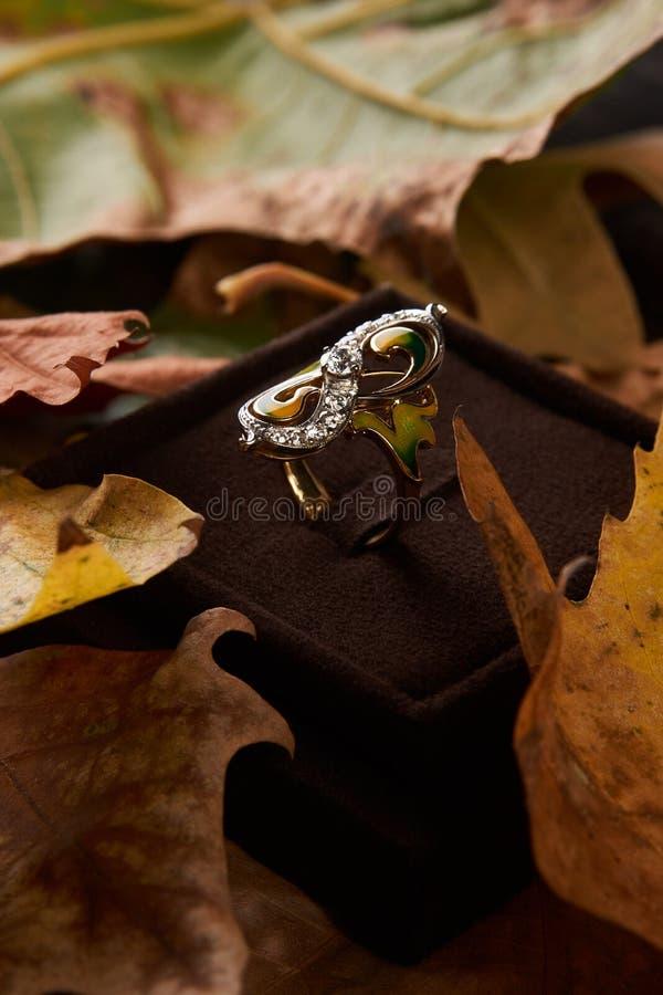 Κομψό δαχτυλίδι διαμαντιών δέσμευσης ως έννοια αγάπης και γάμου, CL στοκ φωτογραφία με δικαίωμα ελεύθερης χρήσης