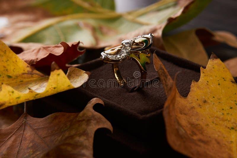Κομψό δαχτυλίδι διαμαντιών δέσμευσης ως έννοια αγάπης και γάμου, CL στοκ εικόνα