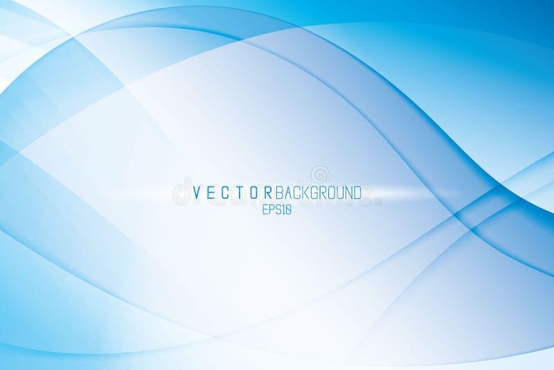 Κομψό διανυσματικό αφηρημένο υπόβαθρο αφηρημένο μπλε κύμα ανασκόπ& Σκηνικό στα κρύα χρώματα με το φως και την επίδραση σκιών ελεύθερη απεικόνιση δικαιώματος