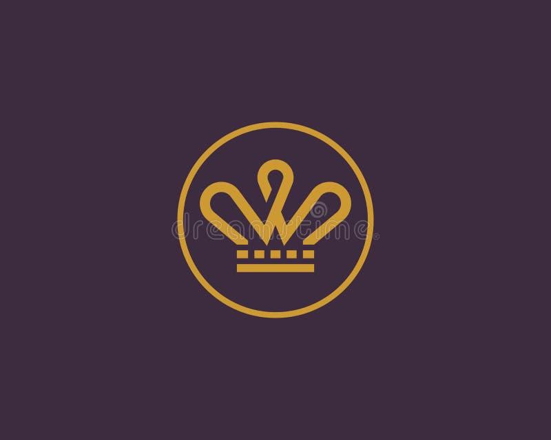 Κομψό διανυσματικό λογότυπο κορωνών Γραμμή βασιλιάδων τιαρών logotype ελεύθερη απεικόνιση δικαιώματος
