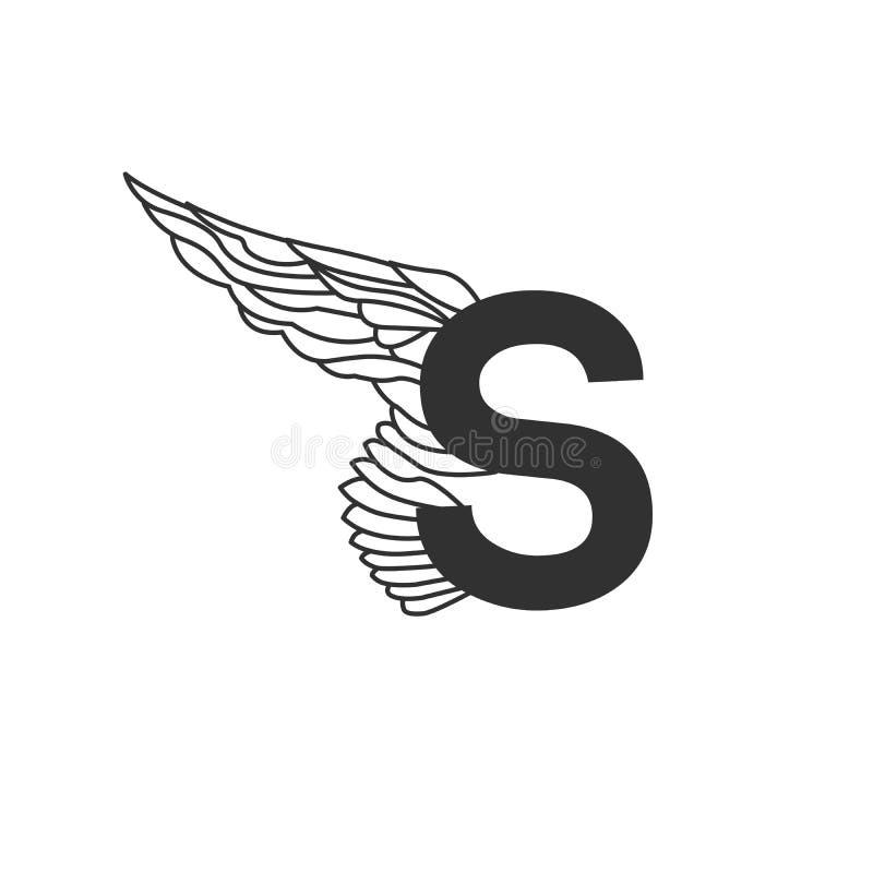 Κομψό δυναμικό πετώντας γράμμα S με το φτερό Γραμμικό σχέδιο Μπορέστε να χρησιμοποιηθείτε για τη δερματοστιξία, οποιαδήποτε υπηρε απεικόνιση αποθεμάτων