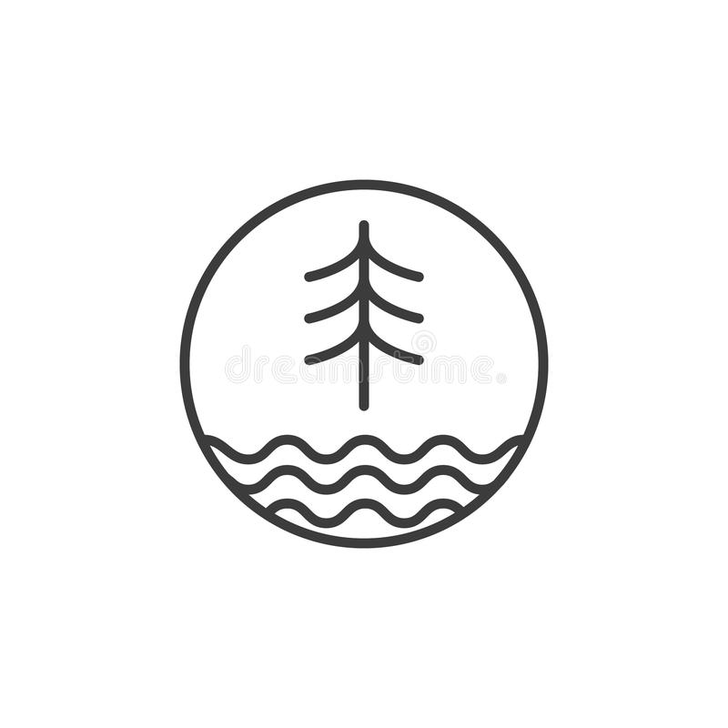 Κομψό εικονίδιο κυμάτων δέντρων και λιμνών τέχνης γραμμών στο στρογγυλό πλαίσιο απεικόνιση αποθεμάτων
