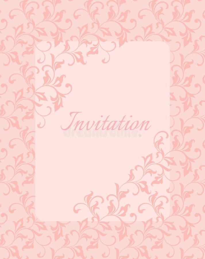 Κομψό ευγενές πρότυπο για την πρόσκληση στο γάμο Στριμμένοι μίσχοι με τα διακοσμητικά φύλλα διανυσματική απεικόνιση