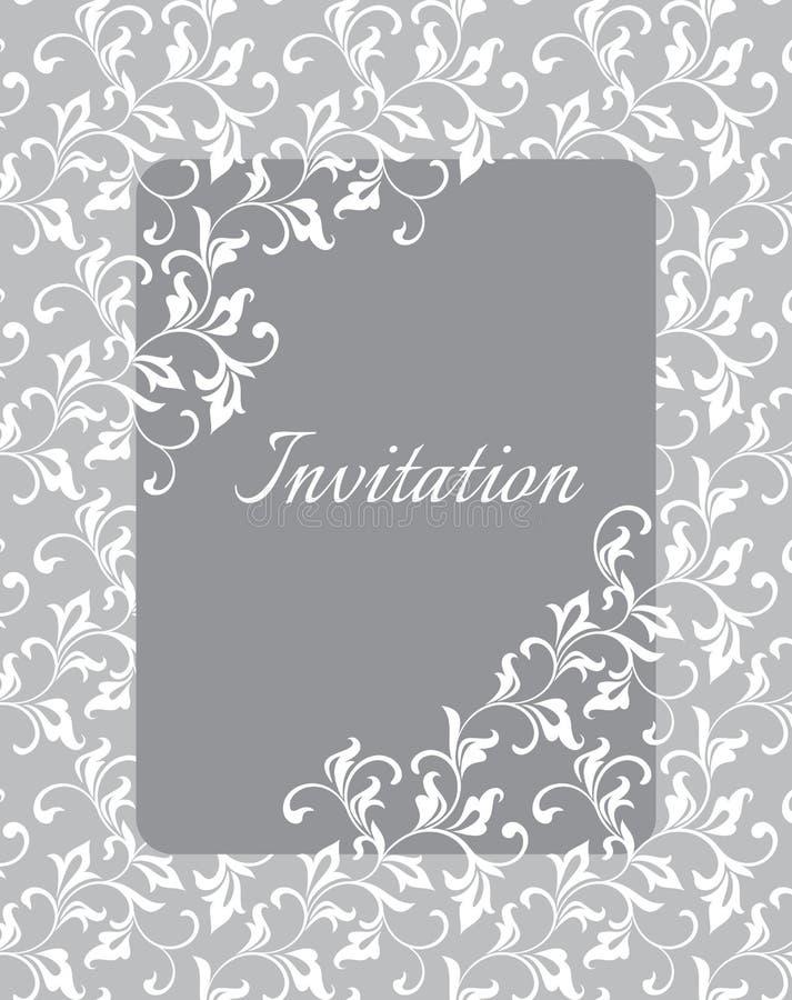 Κομψό ευγενές πρότυπο για την πρόσκληση στο γάμο Στριμμένοι μίσχοι με τα διακοσμητικά φύλλα απεικόνιση αποθεμάτων