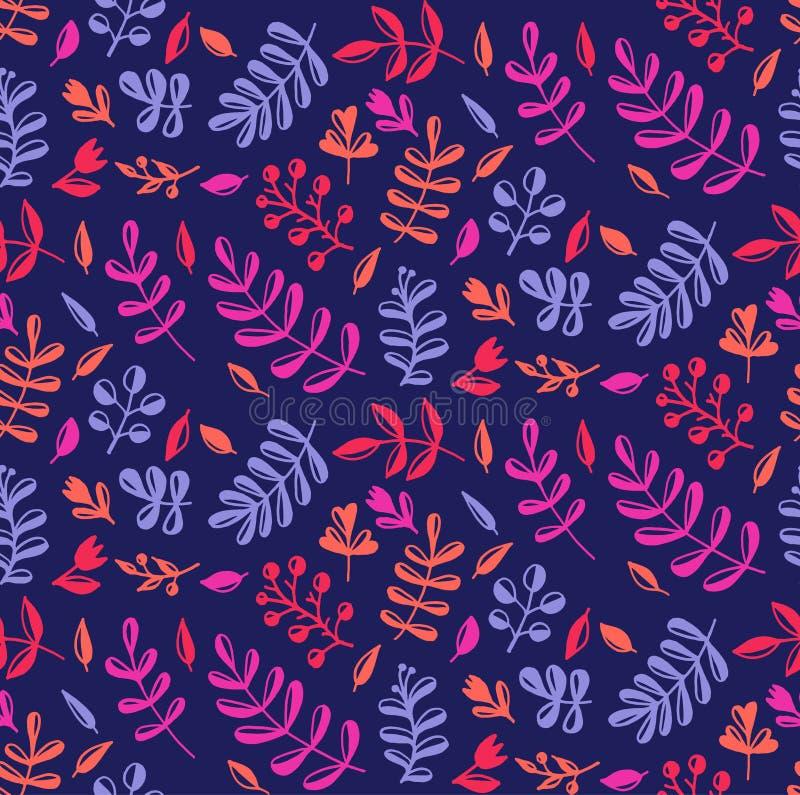 Κομψό ζωηρόχρωμο φυσικό floral άνευ ραφής σχέδιο vecor διανυσματική απεικόνιση